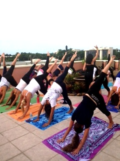 Leg to the Sky — Naples High School Varsity Cheerleading Team Private Yoga Event | Purely You Spa