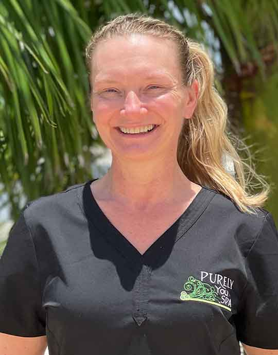 Brenda, Spa Lead Therapist, Dually Licensed in Massage and Skin at Purely You Spa in Naples, Florida | Certified Organic Day Spa