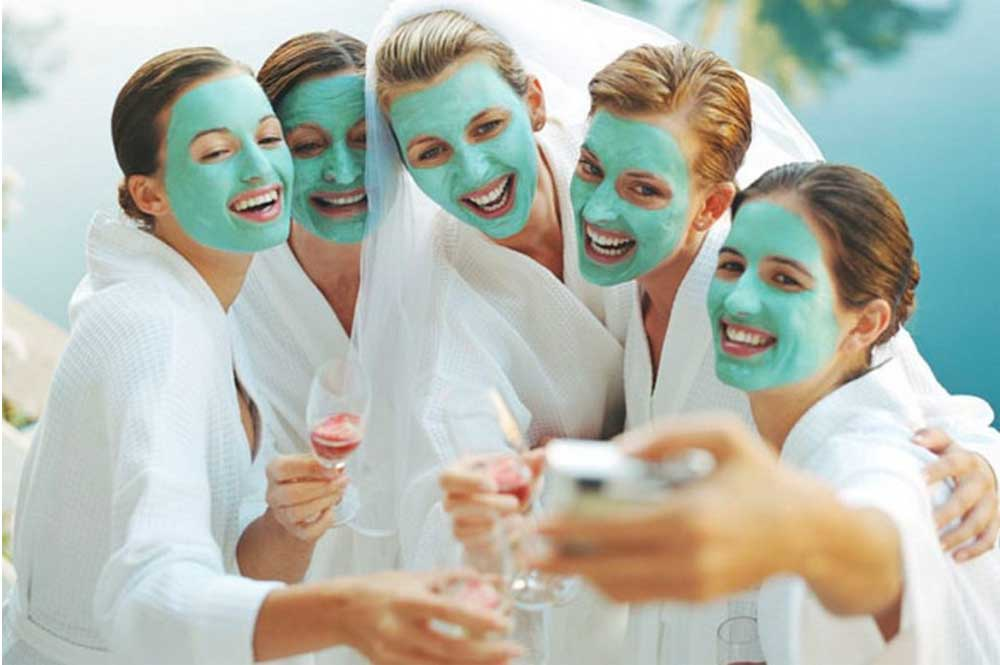 Bridal party with face masks | Purely You Spa Group Spa Packages Naples, Florida