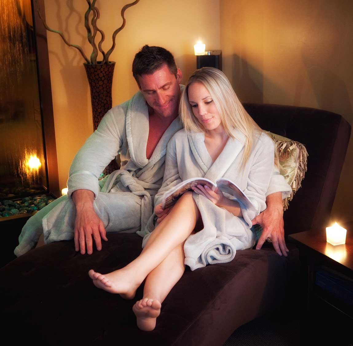 Couple enjoying time together before spa service at Purely You Spa in Naples, Florida | Certified Organic Day Spa