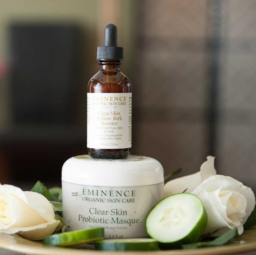 Eminence Clear Skin Willow Bark Booster and Clear Skin Probiotic Masque products available at Purely You Spa | Naples Florida Certified Organic Day Spa