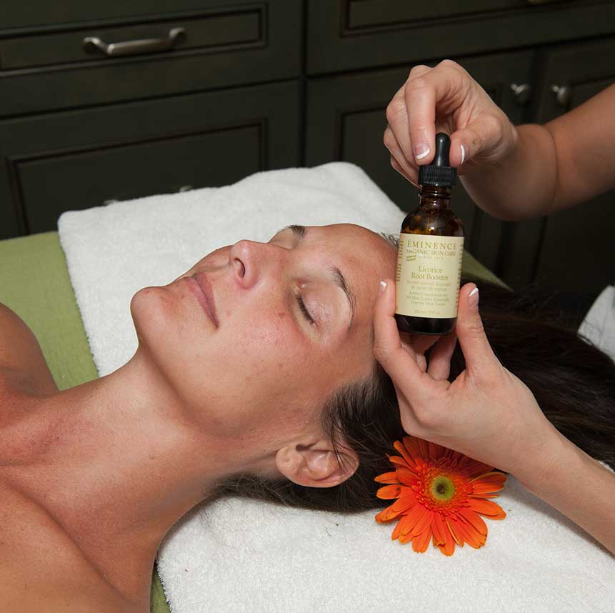 Facial spa service with Eminence Licorice Root Booster product at Purely You Spa   Naples Florida Certified Organic Day Spa