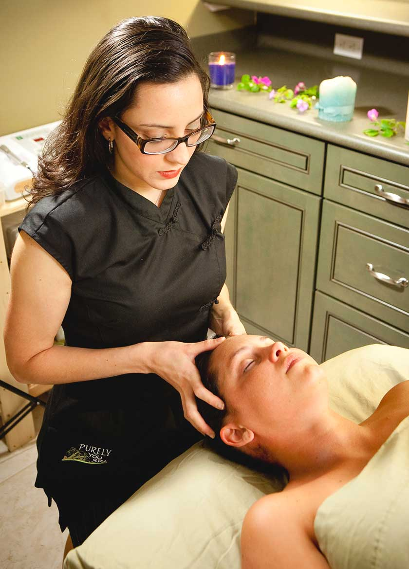 Head massage spa service at Purely You Spa   Naples Florida Certified Organic Day Spa