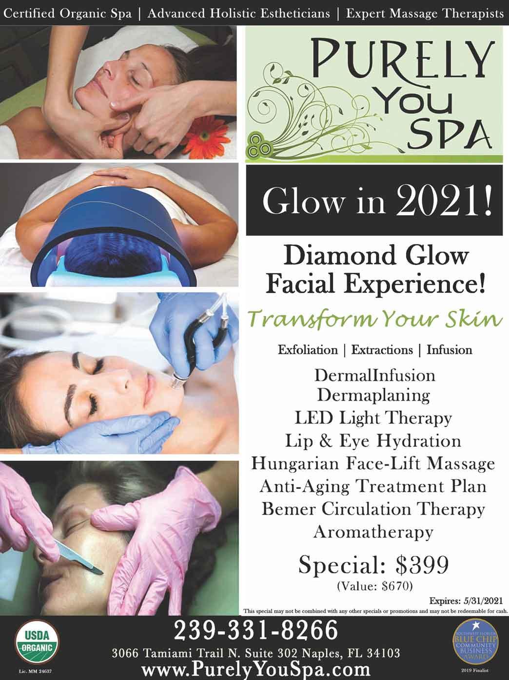 Diamond Glow Facial Experience flyer | Purely You Spa Naples, Florida
