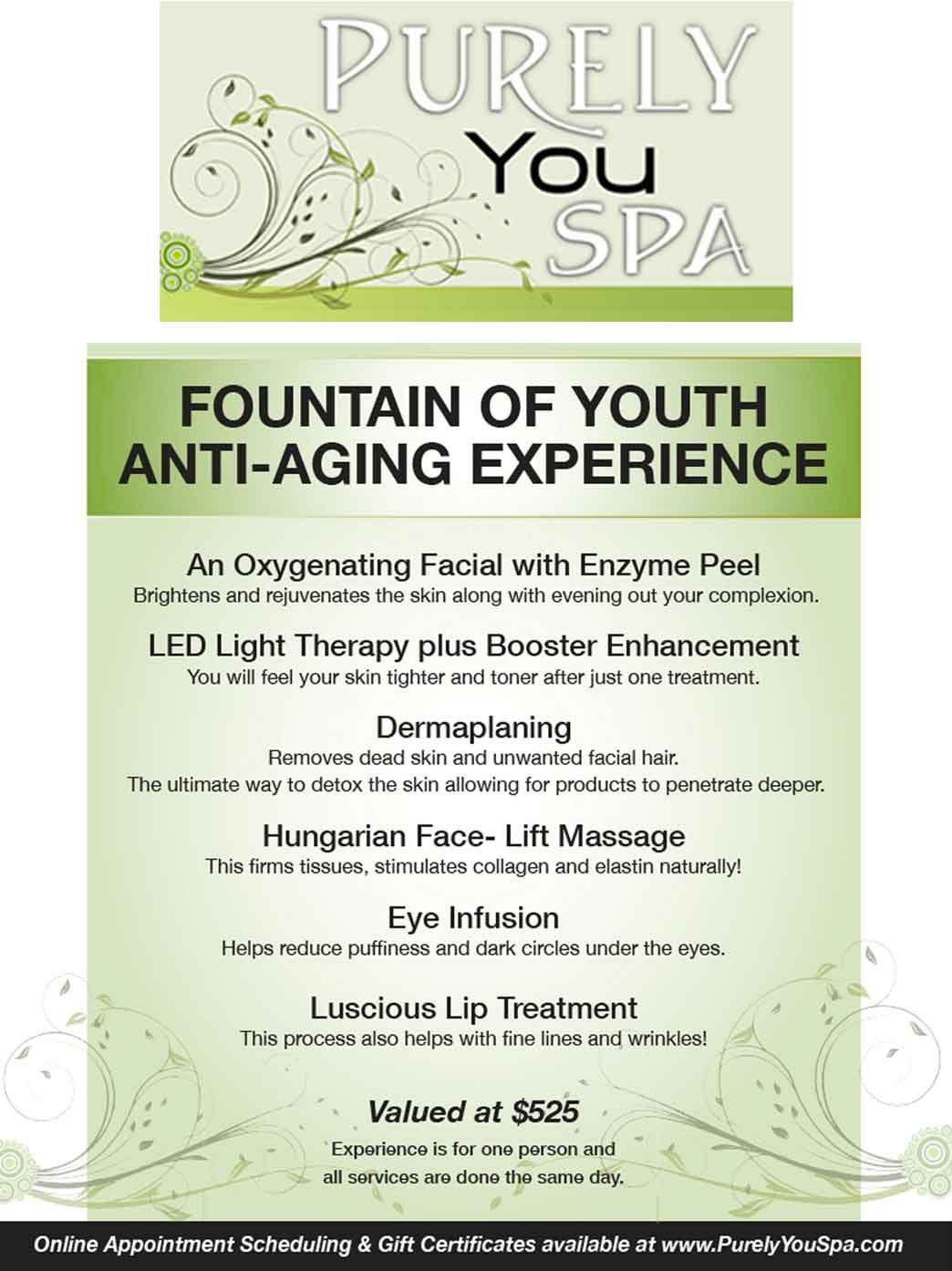Fountain of Youth Anti-Aging Experience flyer | Purely You Spa Naples, Florida