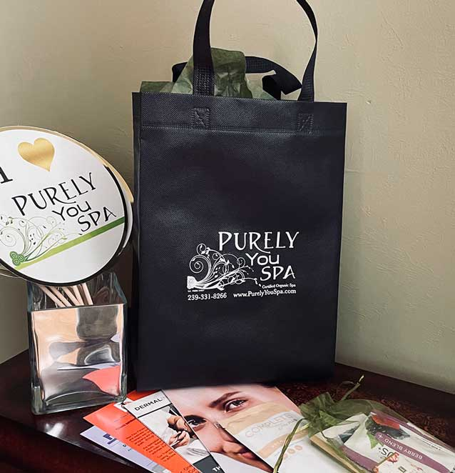 Spa membership welcome bag from Purely You Spa   Certified Organic Day Spa Naples, Florida
