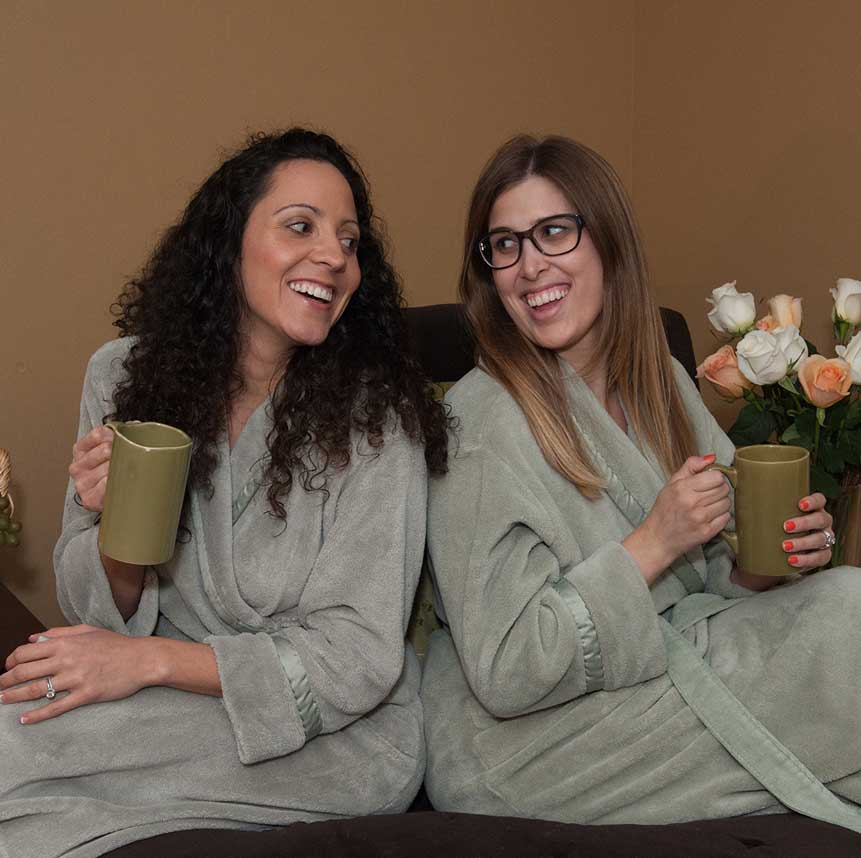 Two friends enjoy spa amenities at Purely You Spa in Naples, Florida   Certified Organic Day Spa